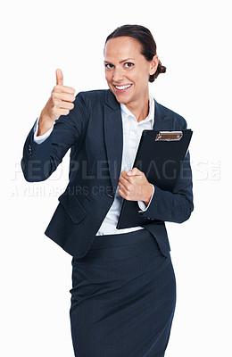 Buy stock photo Portrait of pretty business woman showing thumbs up gesture on white background