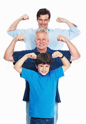 Buy stock photo Portrait of mature man with son and grandson flexing arms on white background