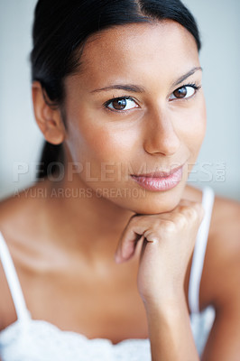 Buy stock photo Portrait of attractive mixed race woman with hand on chin