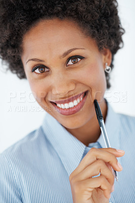 Buy stock photo Closeup portrait of smiling African American business woman holding pen against chin
