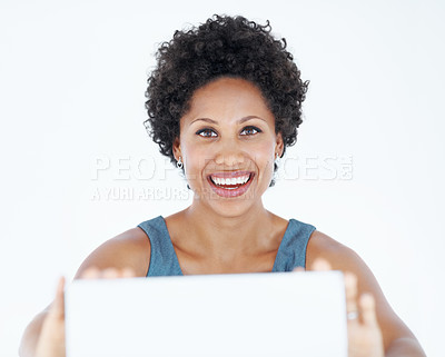 Buy stock photo Confident African American woman showing blank card on white background