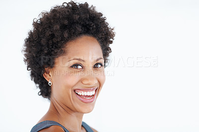 Buy stock photo Closeup of charming business woman smiling over white background