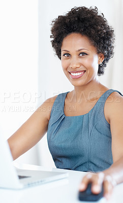 Buy stock photo Portrait of confident business woman smiling while working on laptop
