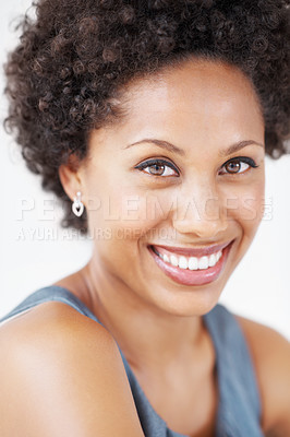 Buy stock photo Closeup of beautiful young woman smiling over white background