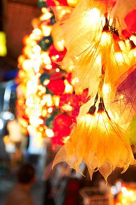 Buy stock photo Colourful lanterns illuminate the sreets of Thailand at night