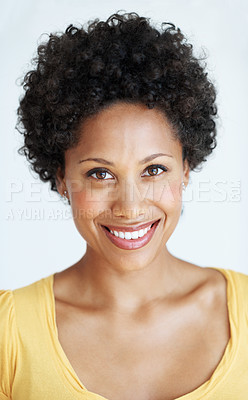 Buy stock photo Closeup portrait of beautiful young woman smiling over white background