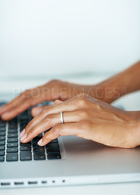 Buy stock photo Closeup of woman typing on laptop keyboard