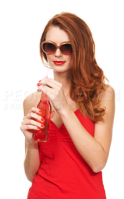 Buy stock photo Portrait of a young woman holding a refeshing bottle of soda