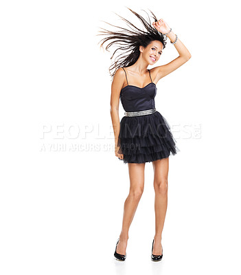 Buy stock photo Lovely young brunette dancing wildly with her one arm raised above her head - copyspace