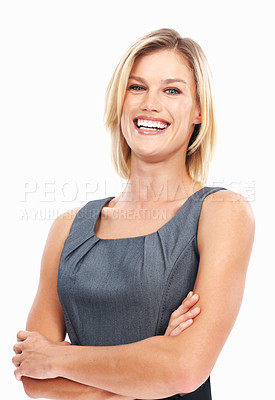 Buy stock photo Portrait of confident business woman laughing with arms crossed on white background