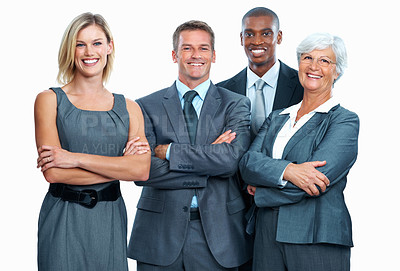 Buy stock photo Portrait of happy multi ethnic business team smiling together with arms crossed on white background