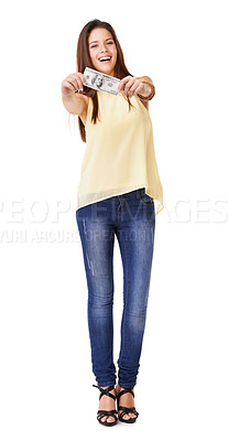 Buy stock photo Full length studio shot of a young woman holding up a banknote isolated on white