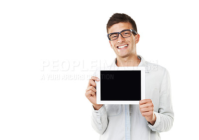 Buy stock photo A smiling man with hipster glasses holding a touch screen with a white background