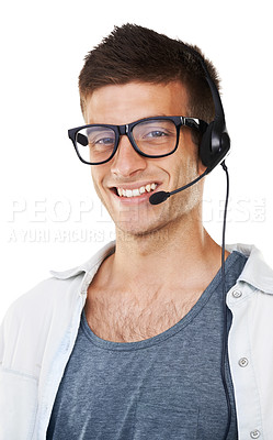 Buy stock photo Portrait of a male with glasses on with a headset