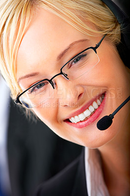 Buy stock photo A friendly telephone operator on white.