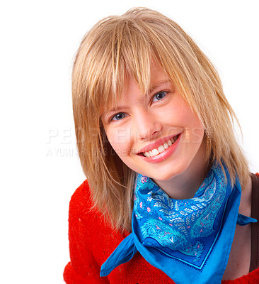 Buy stock photo Portrait of a happy young blonde girl smiling. Wearing blue scarf and red sweater.