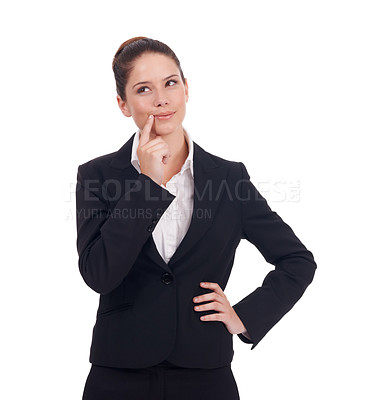 Buy stock photo Studio portrait of a thoughtful-looking young business woman isolated on white