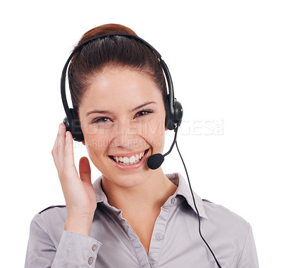Buy stock photo Shot of a positive-looking young customer service representative wearing a headset isolated on white