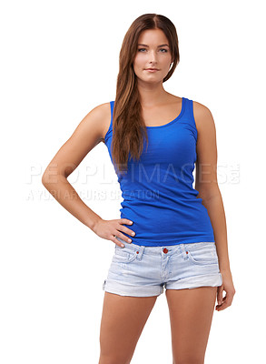 Buy stock photo Cropped shot of an attractive young woman isolated on white