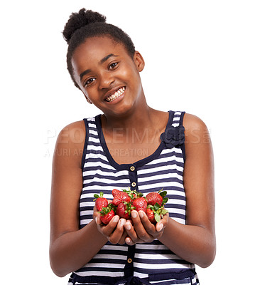 Buy stock photo Studio portrait of a happy young african american girl holding a pile of strawberries isolated on white