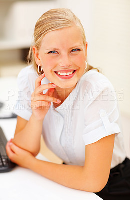 Buy stock photo Closeup of a young happy executive with a sweet smile