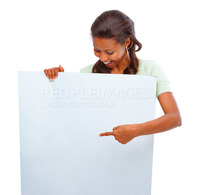 Buy stock photo Young African American girl displaying an empty billboard over white background