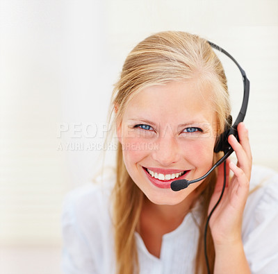 Buy stock photo Closeup portrait of a happy cute call centre employee at work
