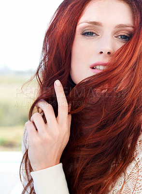 Buy stock photo Front view of a beautiful redheaded woman
