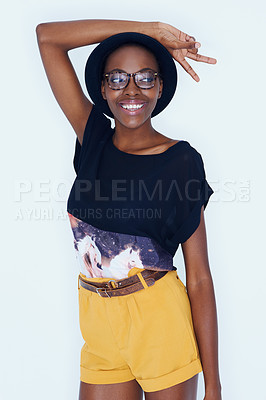 Buy stock photo A young model posing against white