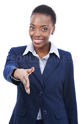 Buy stock photo A happy young businesswoman extending her hand for a handshake