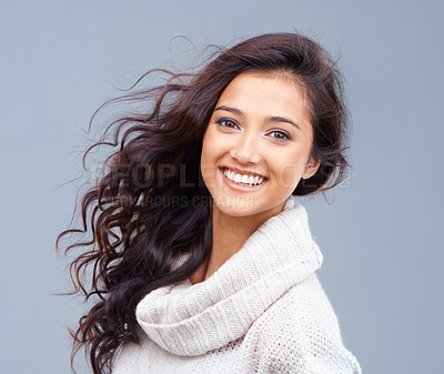 Buy stock photo Portrait of a beautiful brunette smiling at the camera