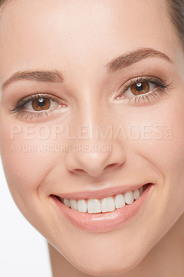 Buy stock photo Close up of a beautiful smiling woman