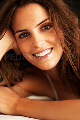 Buy stock photo Closeup of a charming young woman looking happy