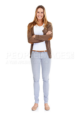 Buy stock photo Portrait of an attractive young woman posing in the studio with her arms crossed