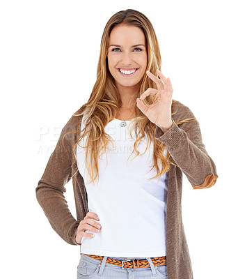Buy stock photo Portrait of an attractive young woman showing her approval