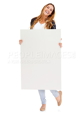 Buy stock photo Full-length studio shot of an attractive young woman holding a blank card