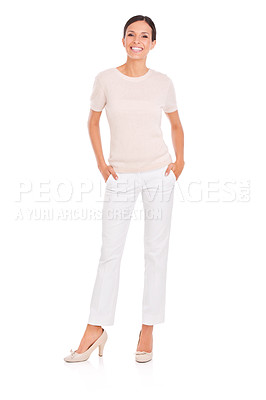 Buy stock photo Studio shot of a casually dressed young woman isolated on white