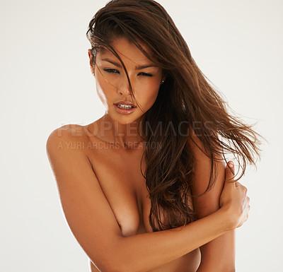 Buy stock photo Shot of a beautiful naked woman