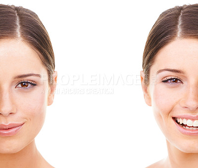 Buy stock photo Studio portrait of two halves of a beautiful young woman's face isolated on white