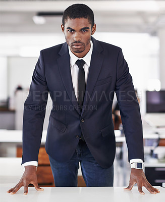 Buy stock photo Portrait of a businessman standing behind his desk