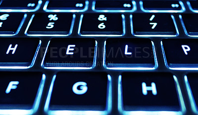 Buy stock photo Closeup shot of a computer keyboard. All screen content is designed by us and not copyrighted by others, and upon purchase a user license is granted to the purchaser. A property release can be obtained if needed.