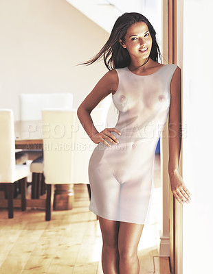 Buy stock photo Shot of an attractive woman wearing a see-through dress