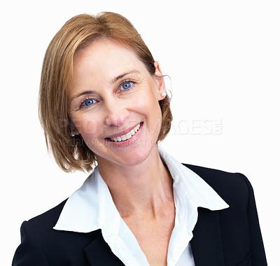 Buy stock photo Happy female entrepreneur over white background