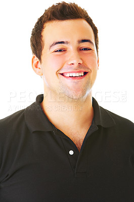 Buy stock photo Portrait of a handsome young man, isolated on white background.