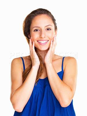 Buy stock photo Woman smiling and holding hands to face