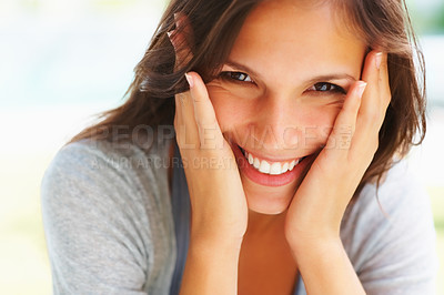 Buy stock photo Pretty woman smiling with hands on face