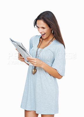 Buy stock photo Woman reading newspaper