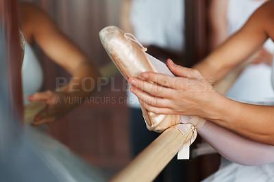 Buy stock photo Closeup of a ballerina's foot