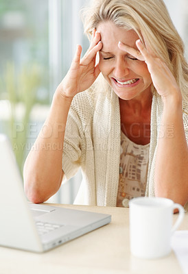 Buy stock photo Casual mature woman disappointed with her laptop at home , eyes closed