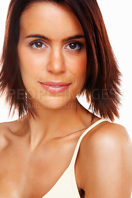Buy stock photo Detail shot of a sexy young woman's face against white background